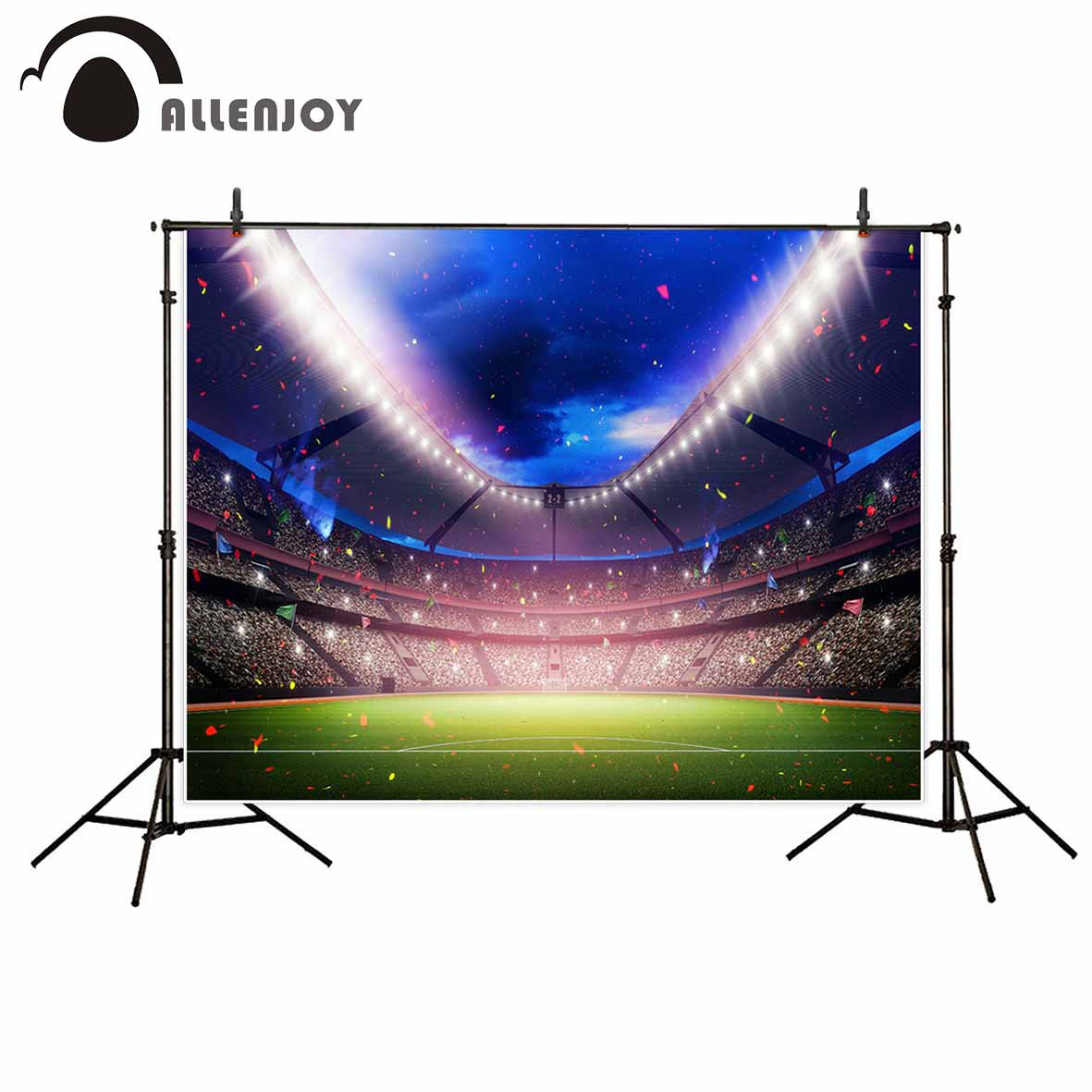 Allenjoy photo background football field in the night ribbons grassland background for photo decorations