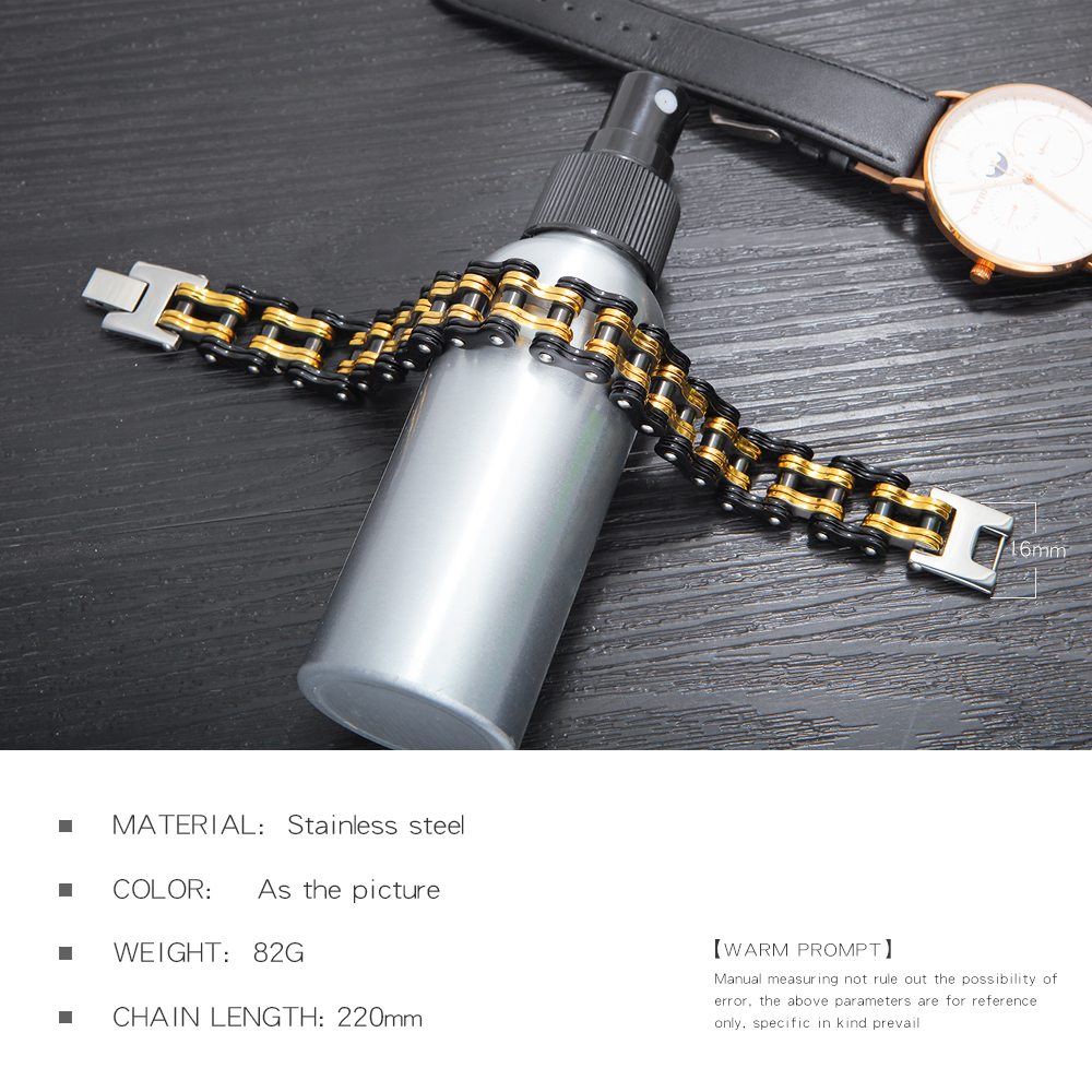 Bike Bicycle Chain Link Bracelet For Men Stainless Steel Chunky & Two Tone 21.5CM Long Male 4