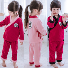 Children boy girl child with velvet long sleeve big child child A709 household to take the baby pajamas to winter