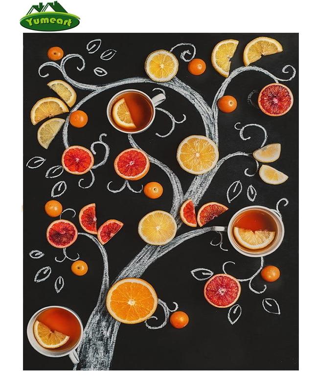 YUMEART 5D DIY Diamond Painting Orange and Lemon Fruits Tree Cross Stitch Crystal Rhinestones Square Diamond Set Wall Decorative