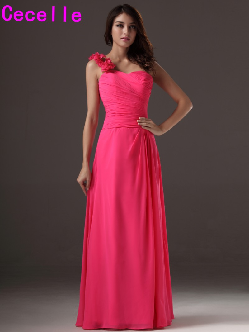 Popular long one shoulder chiffon formal bridesmaid dress buy fuchsia long one shoulder chiffon bridesmaids dresses with straps formal dresses one strap cheap custom made ombrellifo Gallery
