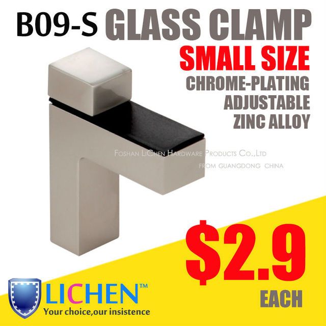 LICHEN(2pieces/lot)B09-S Small size chrome-plating zinc alloy glass clamps supports fitting clip bathroom glass accessory