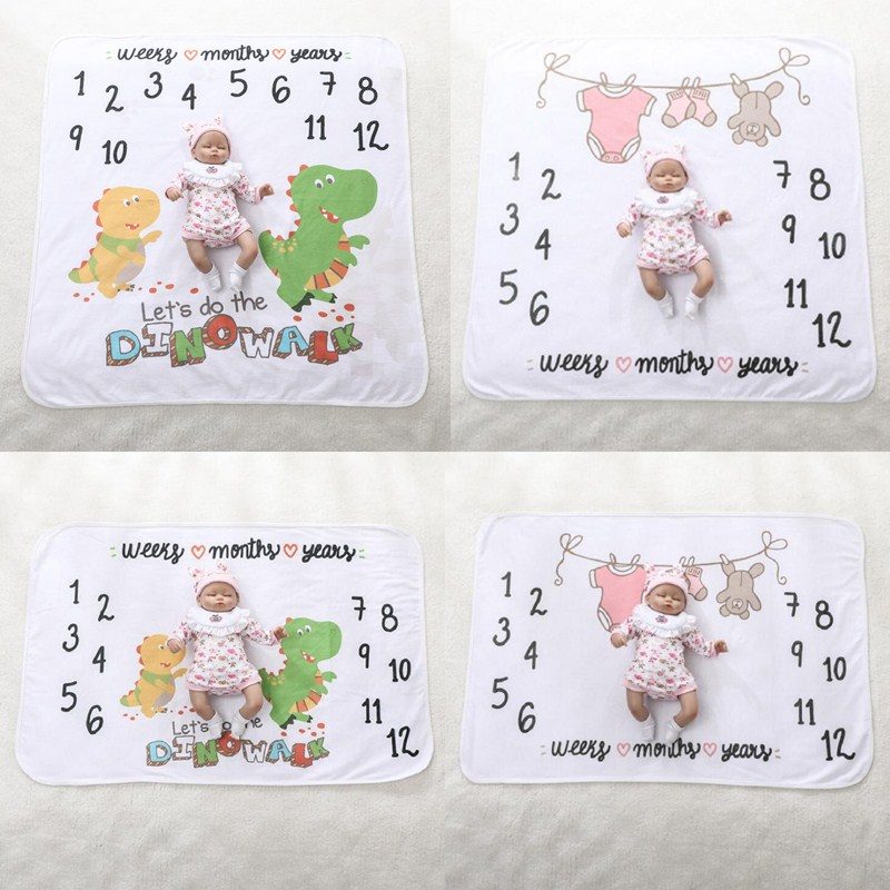 Cute Infant Milestone Photo Props Background Blankets Play Mats Backdrop Cloth Baby Receiving Blanket Calendar Photo Accessories