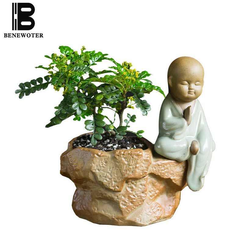 Креативный дизайн горшки для цветов милый маленький монах цветочный горшок