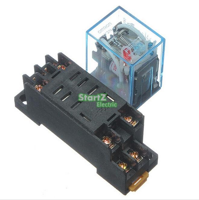 LY2NJ AC220V DC24V  Coil 2NO 2NC 8Pin Power Electromagnetic Relay w PTF08A Socket ac dc no bull