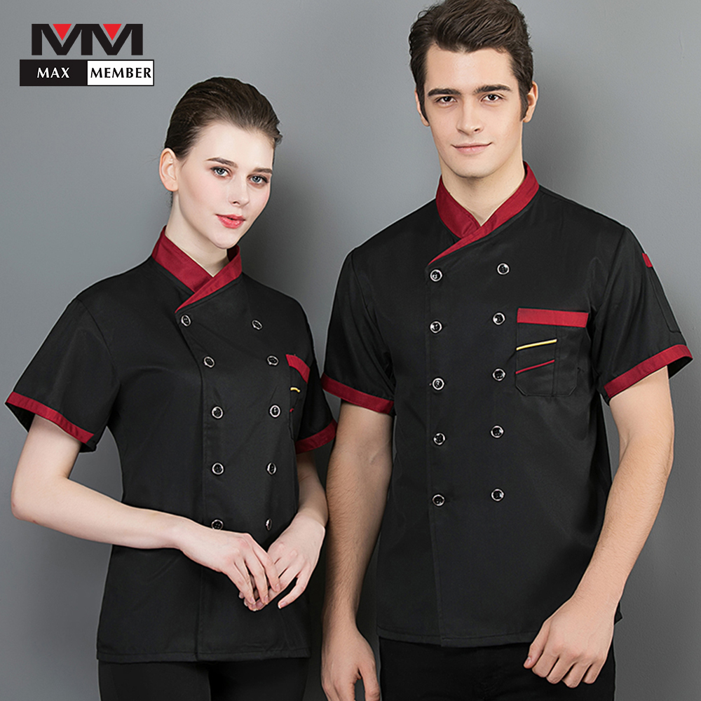 Food Chef's Short-sleeved Breathable Summer Hotel Kitchen Chef Black Hotel Kitchen Chef Black Wear Work Clothes Uniform