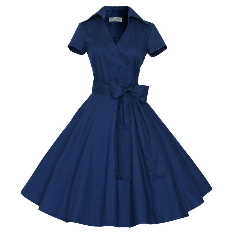 Woman Dresses 2017 Summer Audrey Hepburn Dress Retro 1950s 60s Rockabilly Polka Dots Bow Pinup Ball Grown Party Robe Vestidos