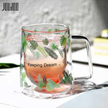 JOUDOO Double Coffee Mugs With Handle Drinking Insulation Double-layers Glass Tea Cup Creative Home Office Milk Water Mug Gift35