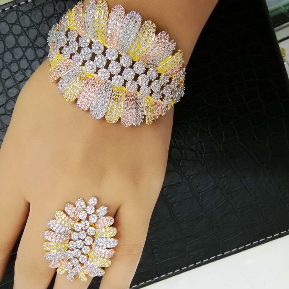 GODKI luksusowe Trendy moda kwiat liść geometria cyrkonia bransoletka ślubna dla kobiet bransoletka Ring Set wysokiej zestawy biżuterii w Zestawy biżuterii od Biżuteria i akcesoria na  Grupa 1