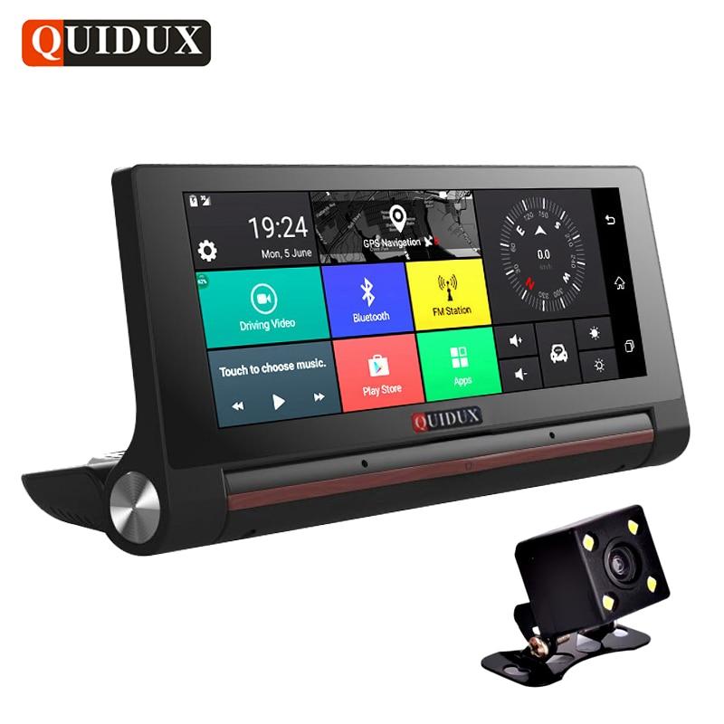 QUIDUX 6.86 IPS 3G Android DVR HD 1080P Car Video Camera GPS Navigator Dual Camera Bluetooth Car DVR Registrator Recorder WiFi quidux dual lens full hd 1080p car dvr wifi dash cam super night vision registrator video camera recorder novatek 96655 imx 322