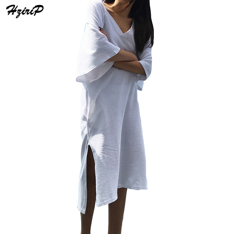 Hzirip Women Casual Summer White T Shirt Dresses Loose ...