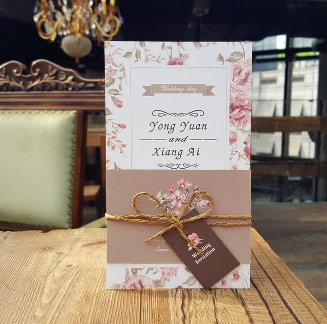 Fresh Simple Wedding Invitation Floral Rose Design with Envelope