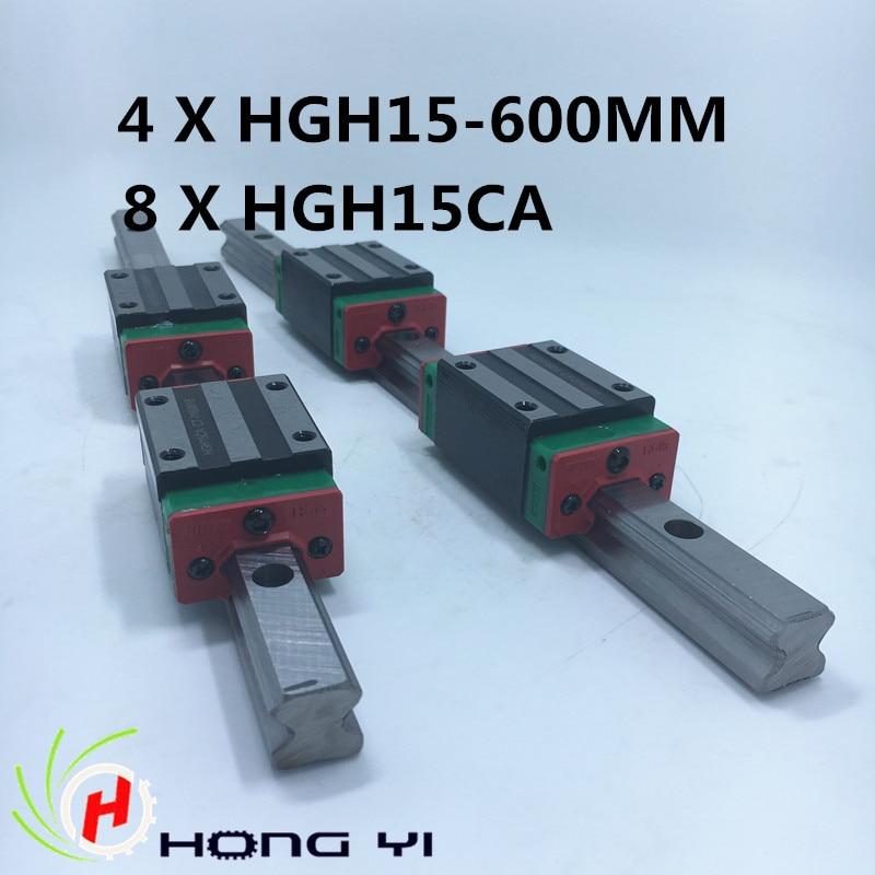 Linear rails HGR15, 4pcs HIWIN Carril Linear Rail 600mm + 8pcs Rail Linear Block HG15CA for CNC free shipping to argentina 2 pcs hgr25 3000mm and hgw25c 4pcs hiwin from taiwan linear guide rail