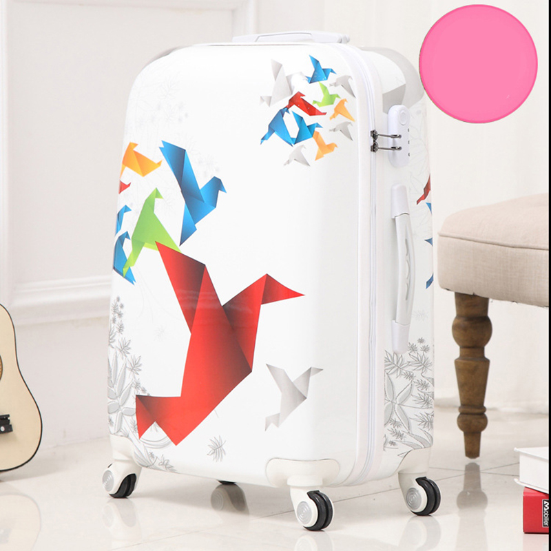 LeTrend 24 inch Art Paper Crane rolling luggage Spinner suitcase Wheels trolley travel bag trunk students carry on luggage