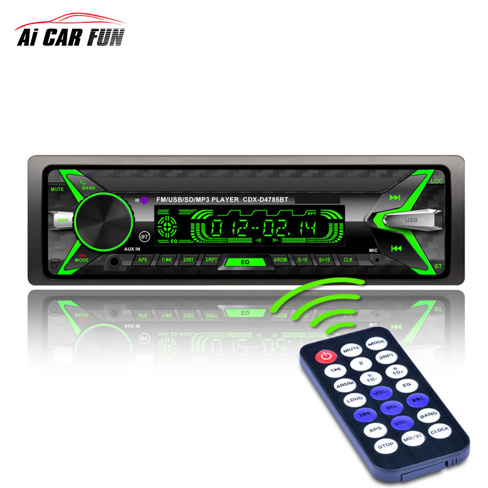 Bluetooth Audio Stereo 60WX4 12V In-dash 1 Din FM Aux Input Receiver USB MMC Remote Control USB / SD / MMC Card Reader image