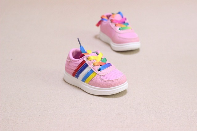 WENDYWU 2017 new fall shoes baby shoes infant baby girls 1-2 years old baby shoes toddler rainbow shoes