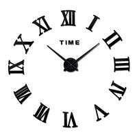 새로운 진짜 금속 3d diy 아크릴 거울 벽시계 시계 시계 가정 훈장 현대 바늘 석영 스티커
