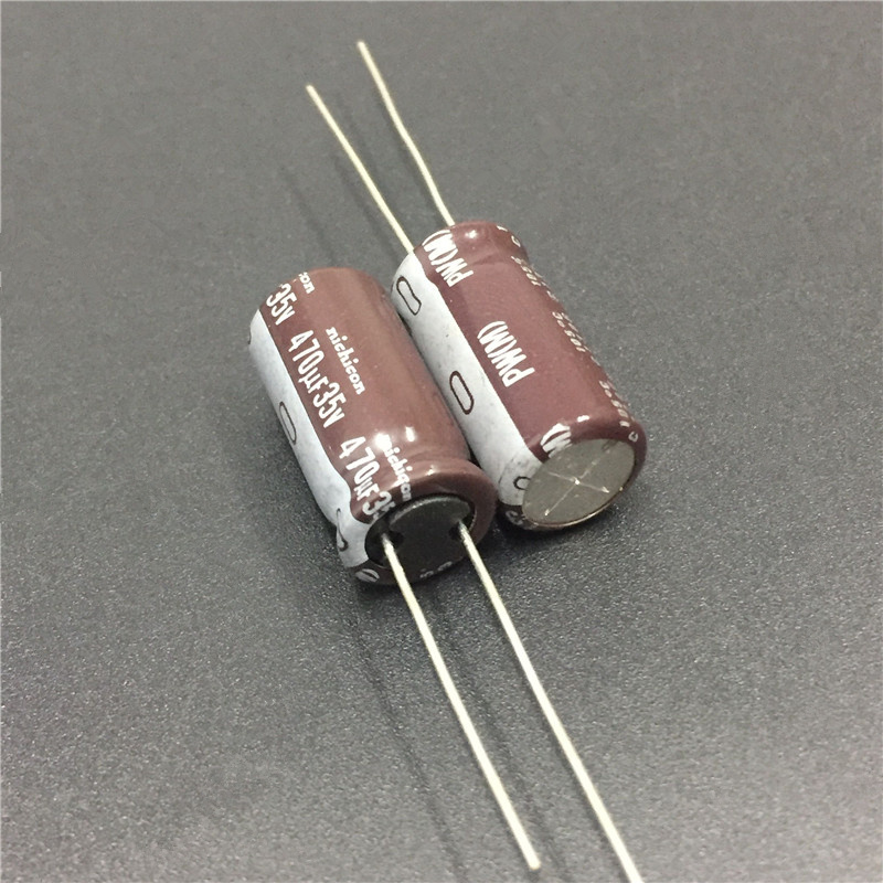 Image 2 - 10pcs 470uF 35V NICHICON PW Series 10x20mm Low Impedance Long Life 35V470uF Aluminum Electrolytic capacitor-in Capacitors from Electronic Components & Supplies