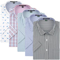 2016 Summer Mens Plaid Short Sleeve Shirts Leisure Style Slim Fit Casual-Shirts Floral Printed / Checkered Shirts Short