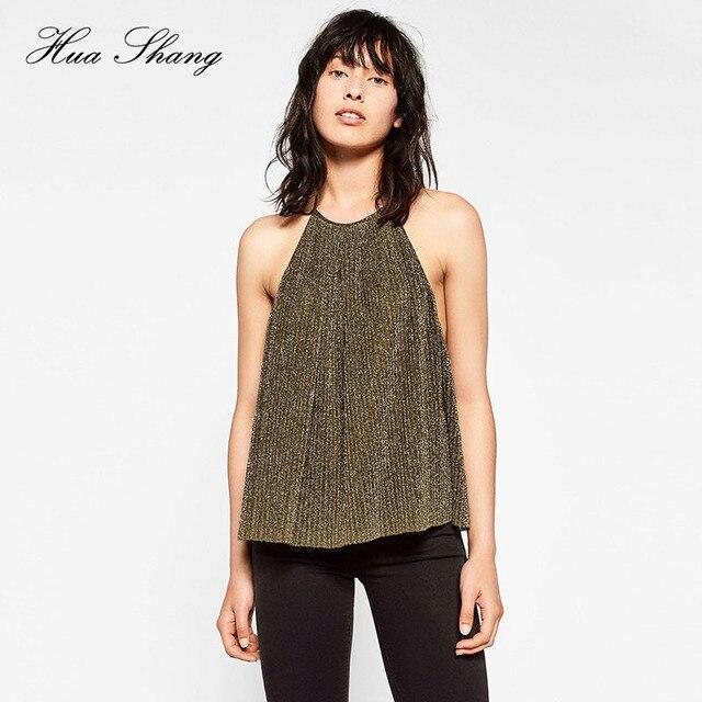 Venda quente Sexy e Brilhante Ocasional Material de ouro I-em forma de Camisola Sem Mangas Voltar Oco Out Plissada Vest Tops Camisa