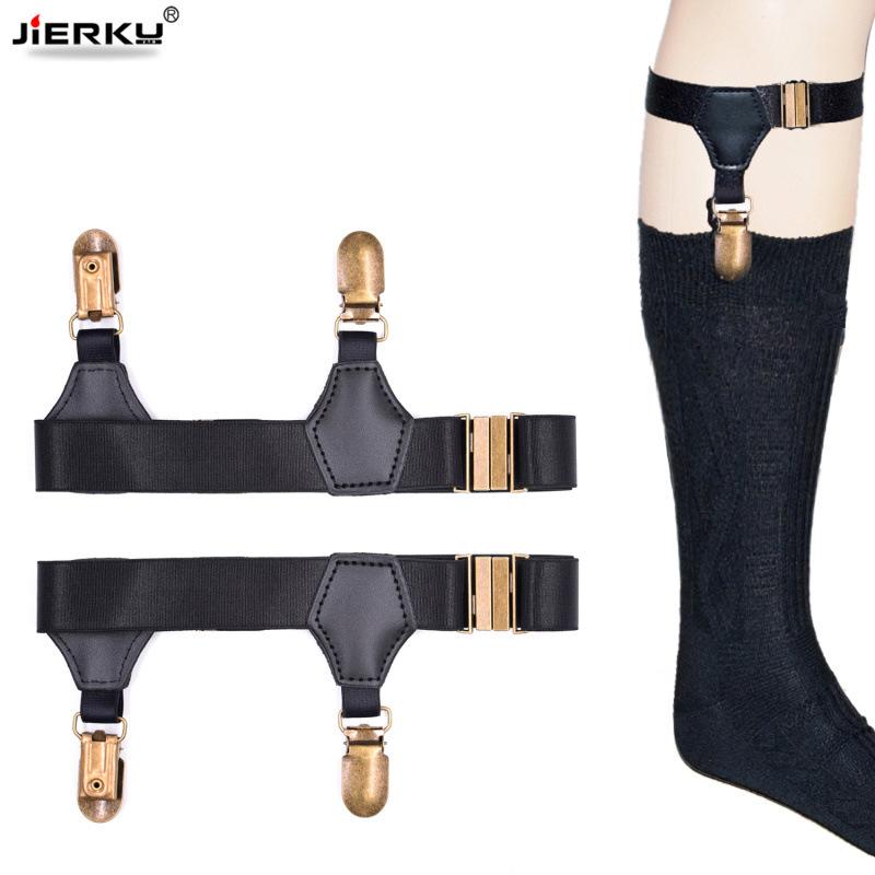 New Sock Stays Holder Gentleman Stocking Suspenders Elastic Uniform Leg Strap Bronze Clips Braces Socking Garters 1pair