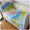 Promotion! 6PCS Bear baby bedding set suite bedding, cotton children bed set  (bumpers+sheet+pillow cover)