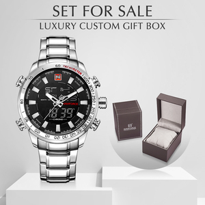 Image 1 - NAVIFORCE montres de Sport militaire pour hommes LED, montre numérique analogique de larmée inoxydable, horloge à Quartz avec boîte, pour la vente