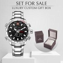 Naviforce 브랜드 남자 군사 스포츠 시계 망 led 아날로그 디지털 시계 남성 육군 스테인레스 쿼츠 시계 상자 세트 판매