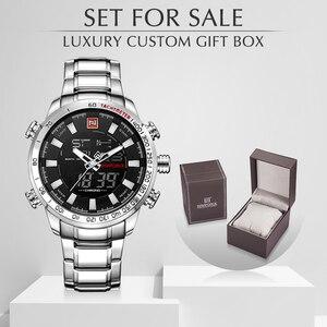 Image 1 - Naviforce 브랜드 남자 군사 스포츠 시계 망 led 아날로그 디지털 시계 남성 육군 스테인레스 쿼츠 시계 상자 세트 판매