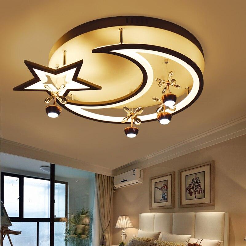 2017 Moon and Star Modern LED Ceiling Lights Children Bedroom AC85~260V Luces de techo para dormitorio de ninos envio gratuito