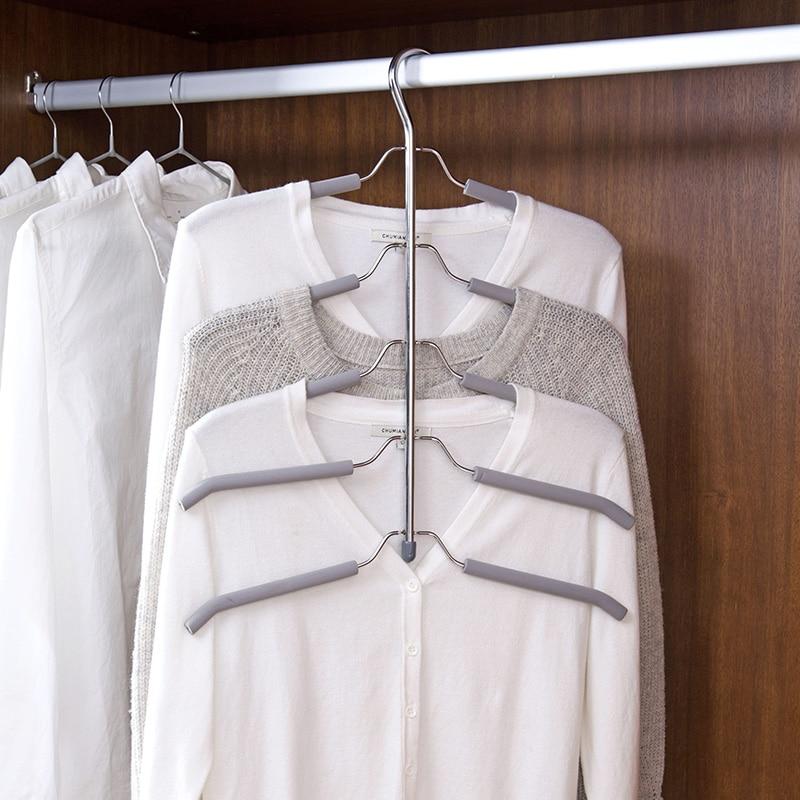 Multi - layer sponge anti - slip hanger clothing support stainless steel multi - functional clothing hanging Storage rack