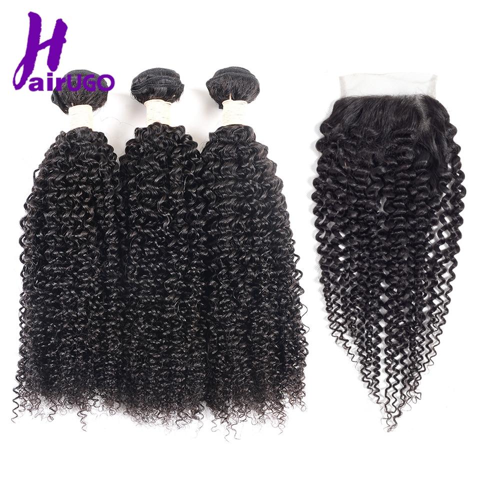 HairUGo Hair Kinky Curly Bundles With Closure Malaysian Hair Bundles With Closure Natural Black 3 Bundles