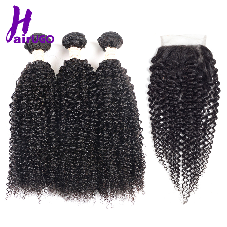 HairHun Human Hair Pre-Colored Malaysian Kinky Curly Wave med Nature - Menneskelig hår (for svart)