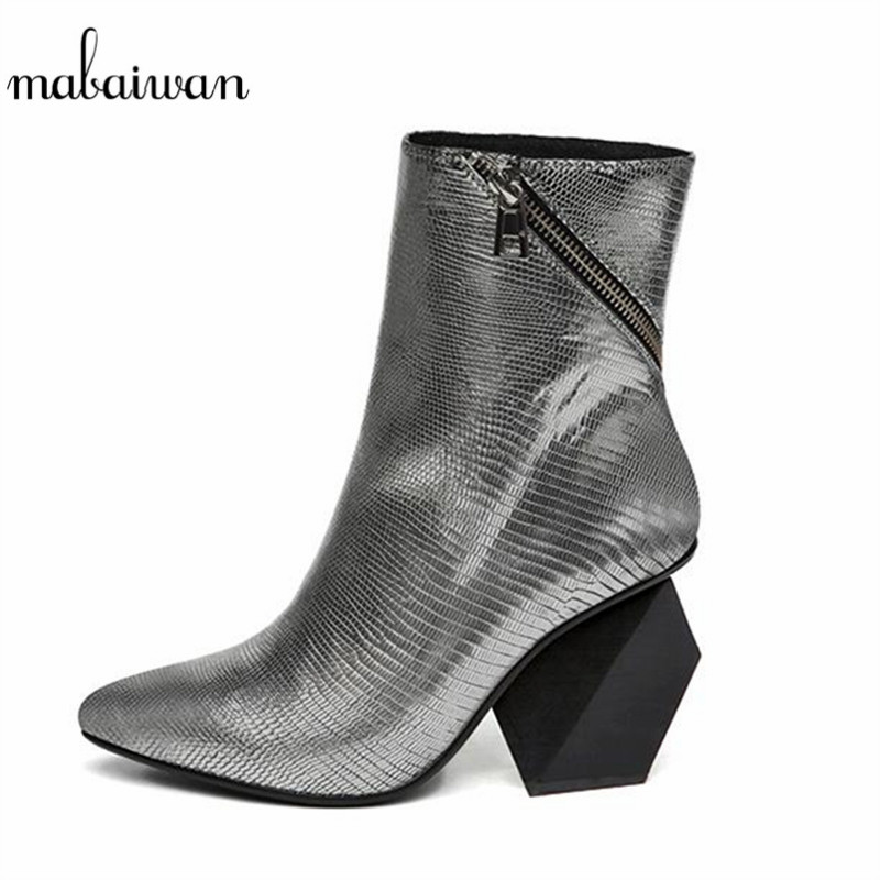 Mabaiwan Strange Heel Silver Women Ankle Boots Genuine Leather Bota Feminina Pointed Toe Botas Mujer High Heels Prom Dress Shoe