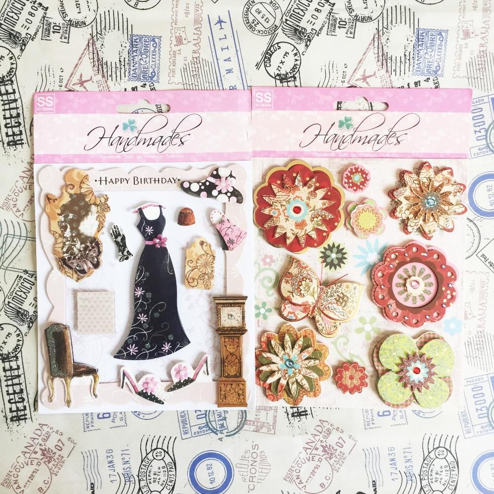 beautiful flower handmade stickers, happy birthday scrapbook sticker for women