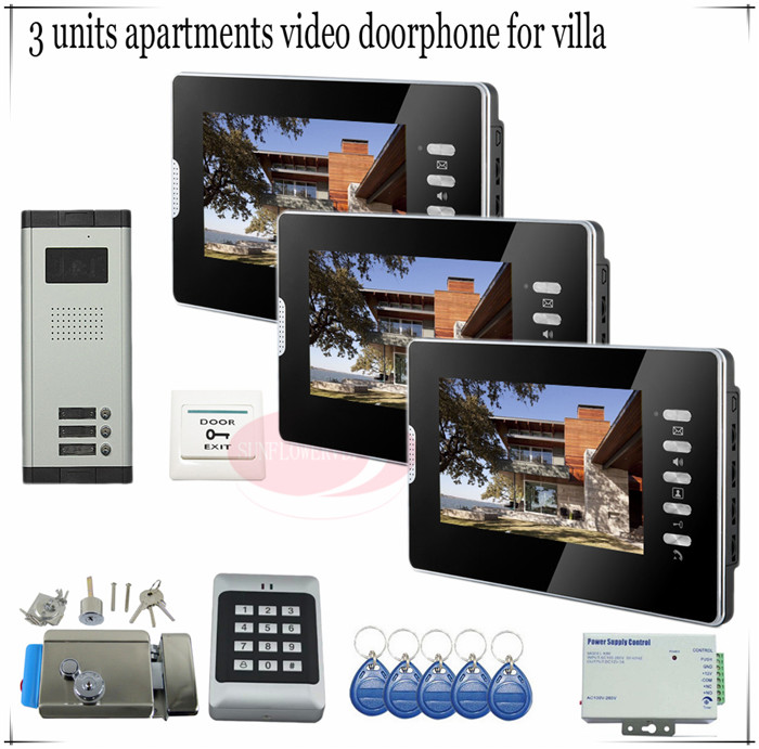 for 3 apartments access control home security 7 tft lcd monitor video door phone intercom. Black Bedroom Furniture Sets. Home Design Ideas
