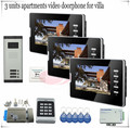"For 3 Apartments Access control Home Security 7 "" TFT LCD Monitor Video Door phone Intercom System IR Camera +Electronic lock"