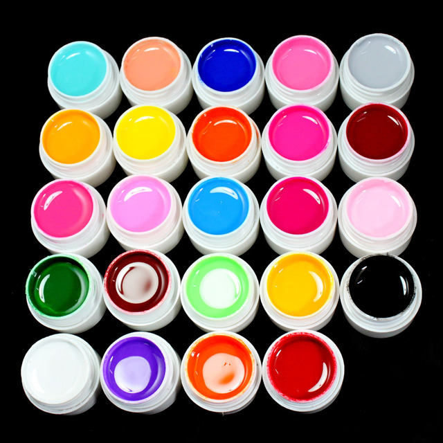 24 Color Solid Pure UV Builder Gel Set Nail Art False Full French Tips Salon Set