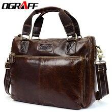 OGRAFF Men shoulder bag men genuine leather handbag design briefcase crossbody messenger bag men leather laptop tote travel bag