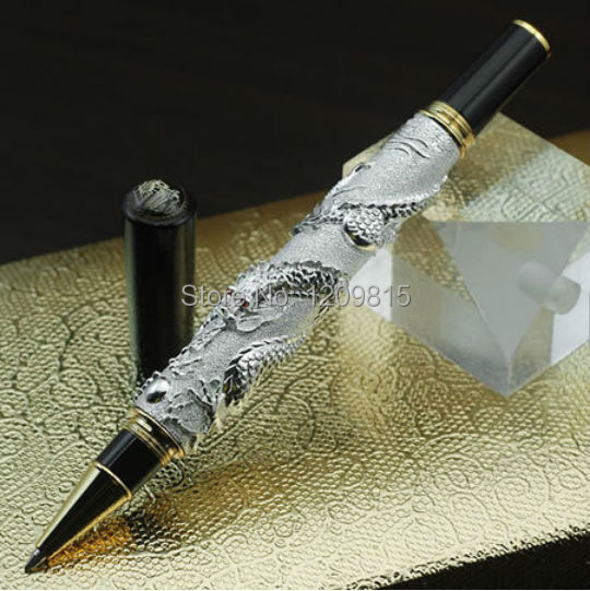Luxury JINHAO 41 silver dragon roller ball pen stationery school office supplies writing gift collection pens with pencil case jinhao ancient dragon playing pearl roller ball pen with jewelry on top with original box free shipping