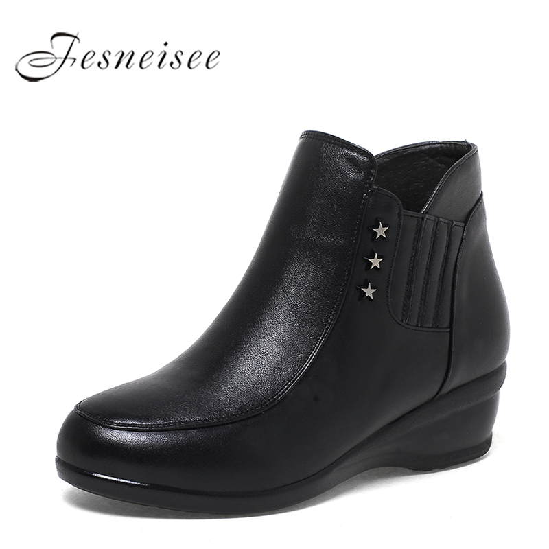 2017 Autumn Winter Women Shoes Woman Genuine Leather Wedges Snow Boots Height Increasing Ankle Boots Women Boots Size 35-43 M3.5 vallkin ankle rivets wedges women winter autumn boots for women platform shoes woman motorcycle size 34 43