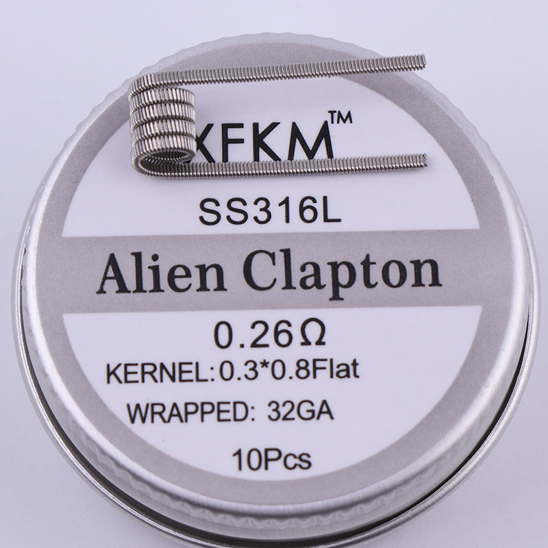 XFKM SS316L Electronic Cigarette DIY Prebuilt Coil Heating Wire Alien Tiger Clapton Coil For Vapor RDA Atomizer Tank 10pcs/box