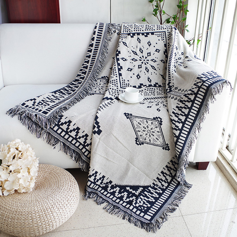 Cotton black white Jacquard Blanket for Sofa Cover Living Room Bedspread Rug Dream Catcher Turkish Ethnic Pattern Throw big size nordic navy blue gray mixed sofa cover blanket 130 170cm simple style wearable blanket sofa towel car blanket