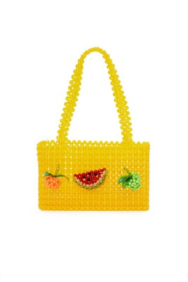 цена NEW pearls bag beaded fruit box totes bag women evening party handbag 2018 summer bags luxury brand yellow dropshipping