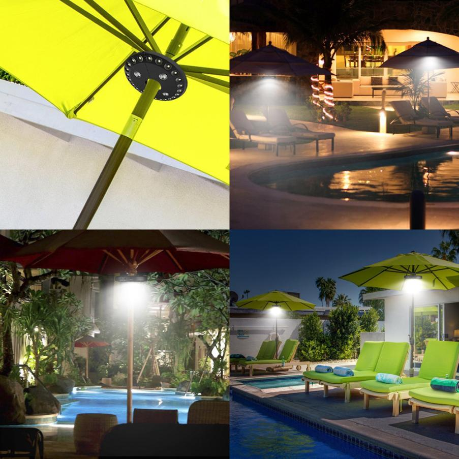 28 Leds Umbrella Light Patio Cordless Led Lights Outdoor Camping Pole Travel Night