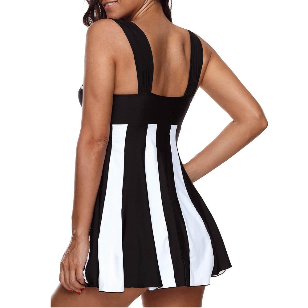 High Cut Swimdress Plus Size Tankini Swimsuits stripe Swimwear Women Ladies Push Up With Shorts Sport Two Pieces 5XL 3.1