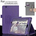 Para lg g pad x 8.0 v521wg g pad 3 8.0 v525 Tablet de Couro de Luxo Carteira Cartão Alça de Mão Stand Case Capa + Caneta