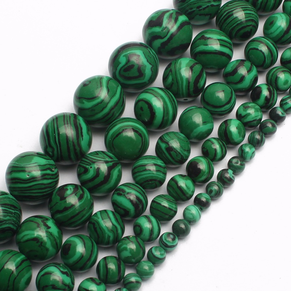 GMB724 Natural Malachite Gem Round Loose Beads For Jewelry