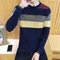 2016 Venta Caliente Nueva Marca de Moda de Los Hombres Jerseys de Color Patchwork Equipo de Punto Casual Suéter de Punto Más El tamaño 5xl