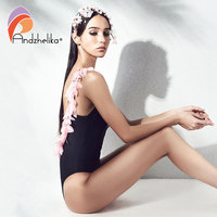 Andzhelika One Piece Swimsuit Women 2018 Summer Sexy Black Patchwork Pink Floral Swim Suit Bodysuit Bathing